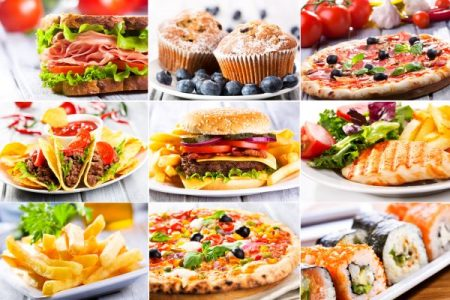 collage of fast food restaurant dishes
