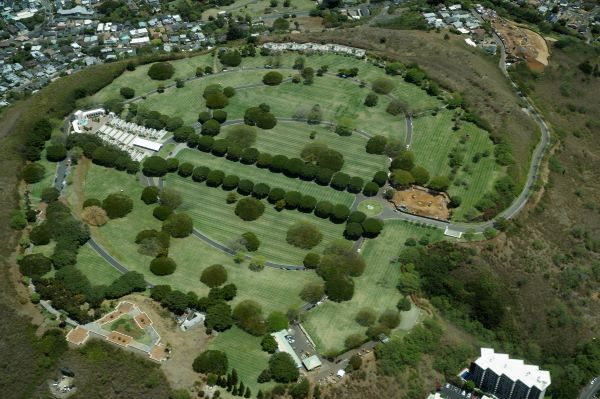 Aerial view of Punchbowl Cemetery in Hawaii