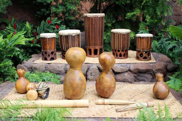 Hawaiian percussion instruments used for hula dance