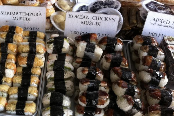 Assorted musubi at the farmers market