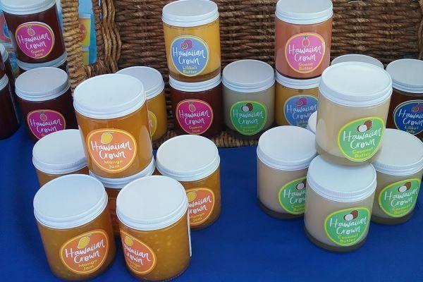 Jars of Hawaiian fruit jams