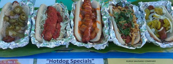 Kukui Sausage Company hot dog specials at KCC farmers market