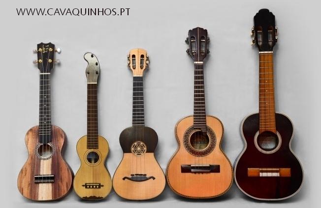 (L-R) Hawaiian ukulele, Madeira braguinha, Portuguese cavaquinho, Brazilian cavaquinho, Cape Verde cavaquinho