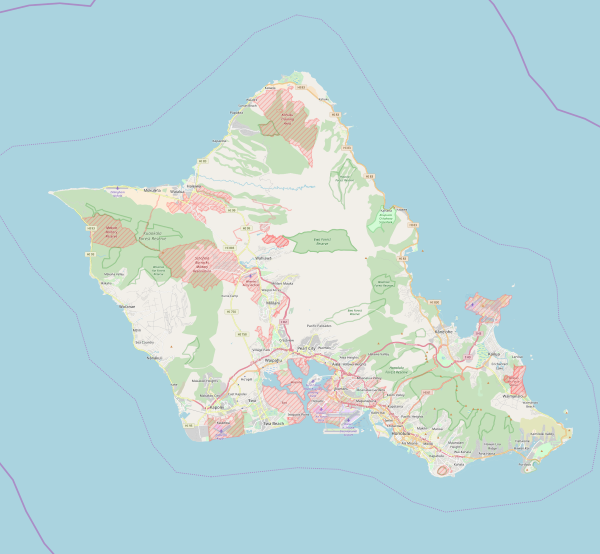 Map of Oʻahu island, Hawaii