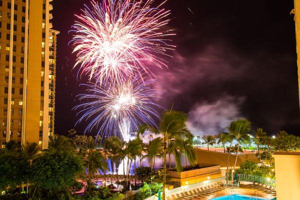 Hawaiian Village fireworks show in Waikiki