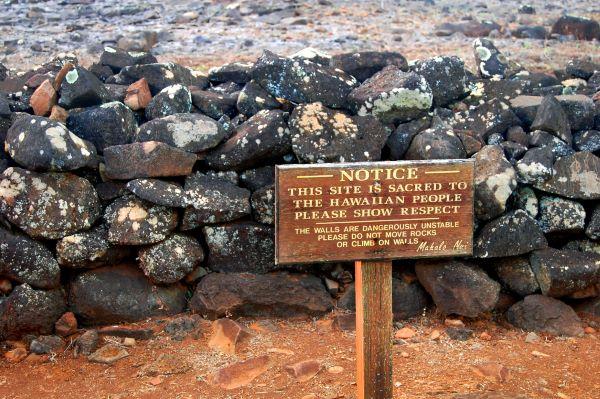 Sign at the Poli'ahu Heiau on the Island of Kauai, Hawaii