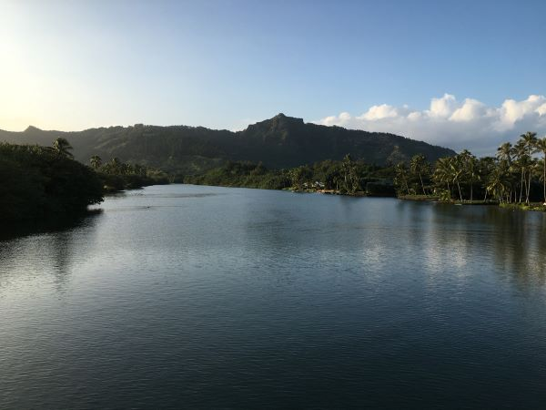 Sunset above Wailua River in Kapaa on Kauai Island in Hawaii