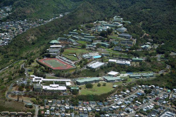 Aerial view of Kamehameha School campus, Honolulu, Hawai