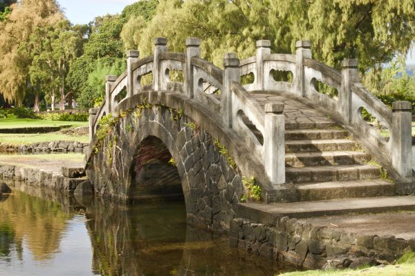 Stone bridge in the Liliʻuokalani Japanese garden in Hilo, Hawaii
