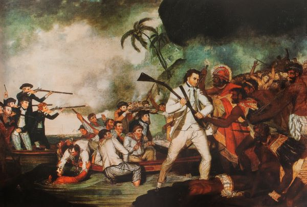 Painting by George Carter of Captain James Cook battle with Hawaiians at Kealakekua Bay, 1783.