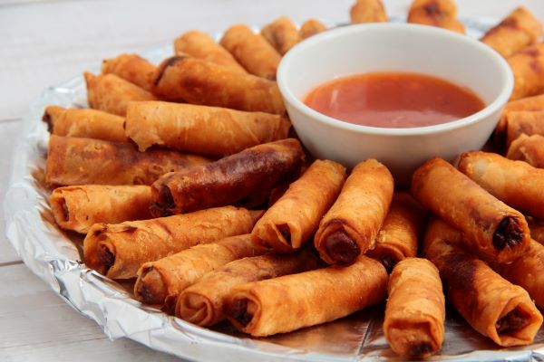 Filipino lumpia with dipping sauce