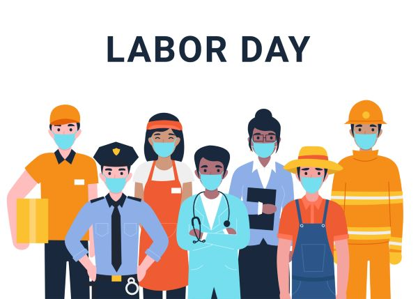 labor day workforce with face masks