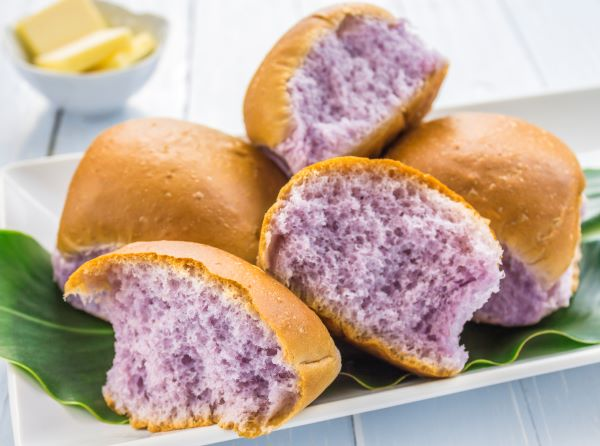 purple taro rolls