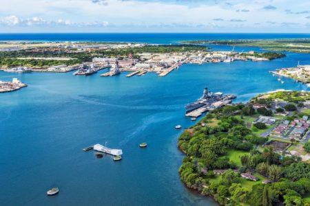 Aerial view of USS Arizona Memorial and Battleship Missouri in Pearl Harbor