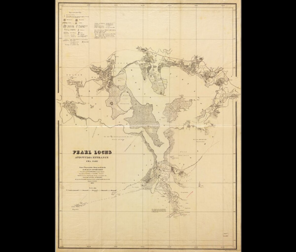 1873 map of Pearl Lochs and Puuloa Entrance, Ewa, Oahu, Hawaii