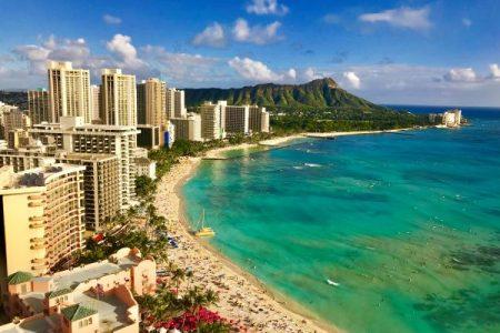 Waikiki Beach looking towards Diamond Head